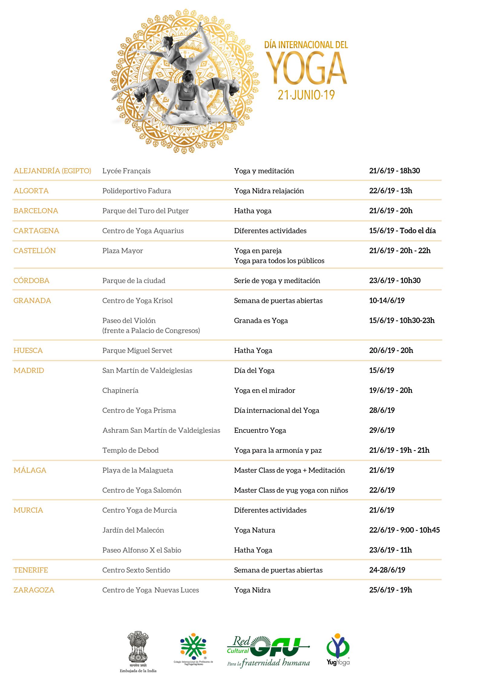 Actividades de la RedGFU para el día Internacional del Yoga 2019